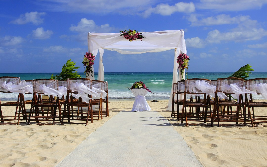 Wedding preparation on a Cancun beach . with Krystal International Vacation Club