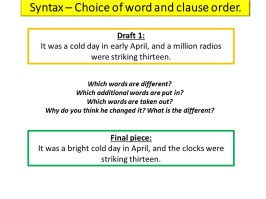 writers choices of syntax