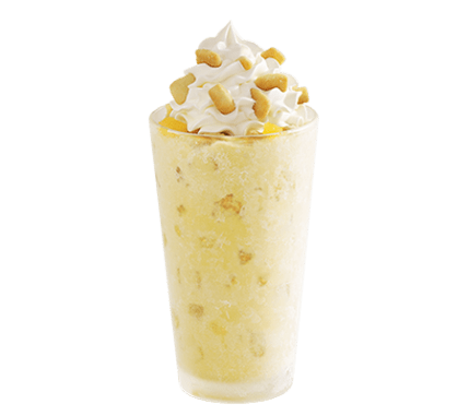 "3) Sonic's Large Pineapple Upside Down Master Blast (2,020 calories) ""SONIC's real, vanilla ice cream perfectly mixed with pineapple, salted caramel & pie crust pieces"" comes in a 32 oz. cup topped with several inches of whipped cream. That's for a large, which fires 2,020 calories at your midsection, and 61 grams (three days' worth) of sat fat and 41⁄2 grams (two days' worth) of trans fat (from the pie crust) at your arteries. And it comes with some 29 teaspoons of added sugar. One Master Blast has the calories of roughly four Dairy Queen Banana Splits. IMAGE: Sonic website"