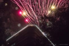 Photo of fireworks taken at Uptown Houston Holiday Lighting