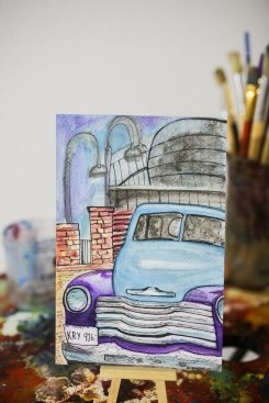 The Boardwalk-Urban Sketch   Watercolor and Ink on Paper   $40.00 + Shipping
