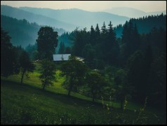 """""""Ostatni"""" obrazek z Karpat. Mokry świat, mokry ja, grzbiety, doliny, góra i dół, porwany oddech i ogień w udach. Schowany dom wśród drzew. Kulę się w sobie, by zatrzymać ciepło tego kadru."""