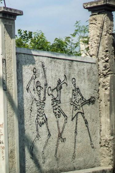 dancing skeletons graffiti