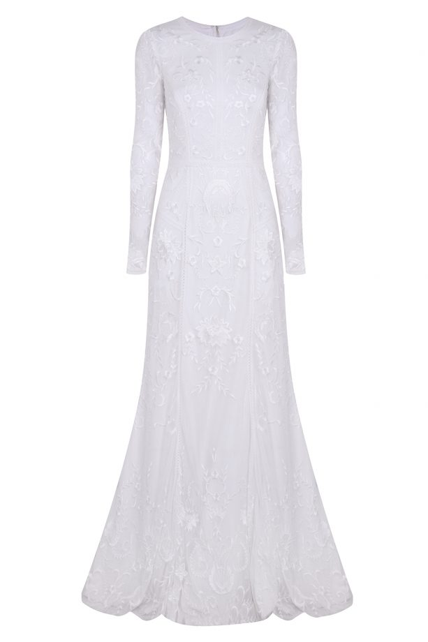 Nine by Savannah Miller Ivory lace bridal dress