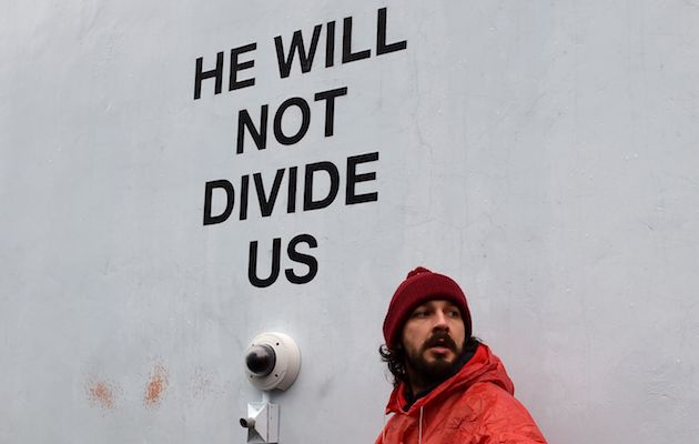 Image result for shia labeouf protest