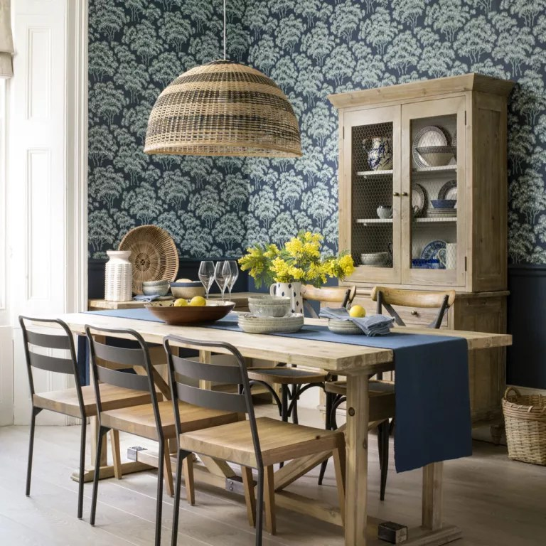 Dining room wallpaper ideas - Dining room with wallpaper on Living Room Wall Sconce Ideas For Dining Area id=83565