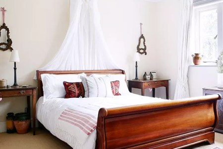 Vintage bedrooms to delight you   Ideal Home Bedroom with sleigh bed  white walls and neutral carpet