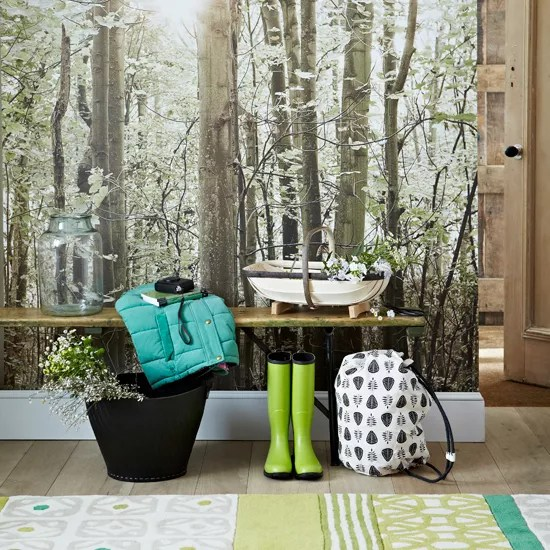 Country Hallway With Woodland Theme Wallpaper And Bench
