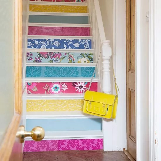 Hallway ideas  designs and inspiration   Ideal Home Painted stairs     10 fabulous ideas