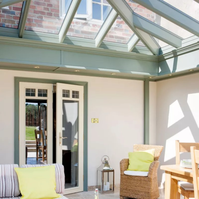 Conservatory with green structured roof lantern