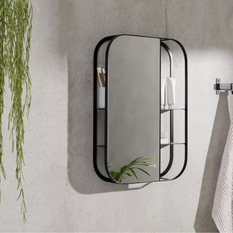 MADE Stria Wall Mirror with Shelves in grey bathroom with hanging plant