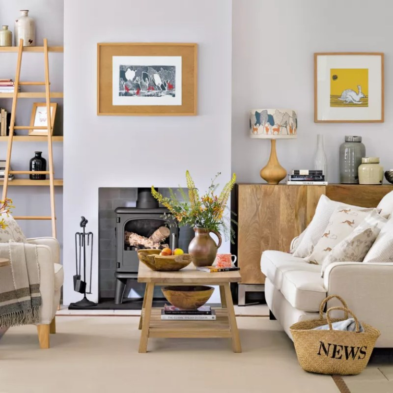 Cosy living room with warm wood and lots of texture