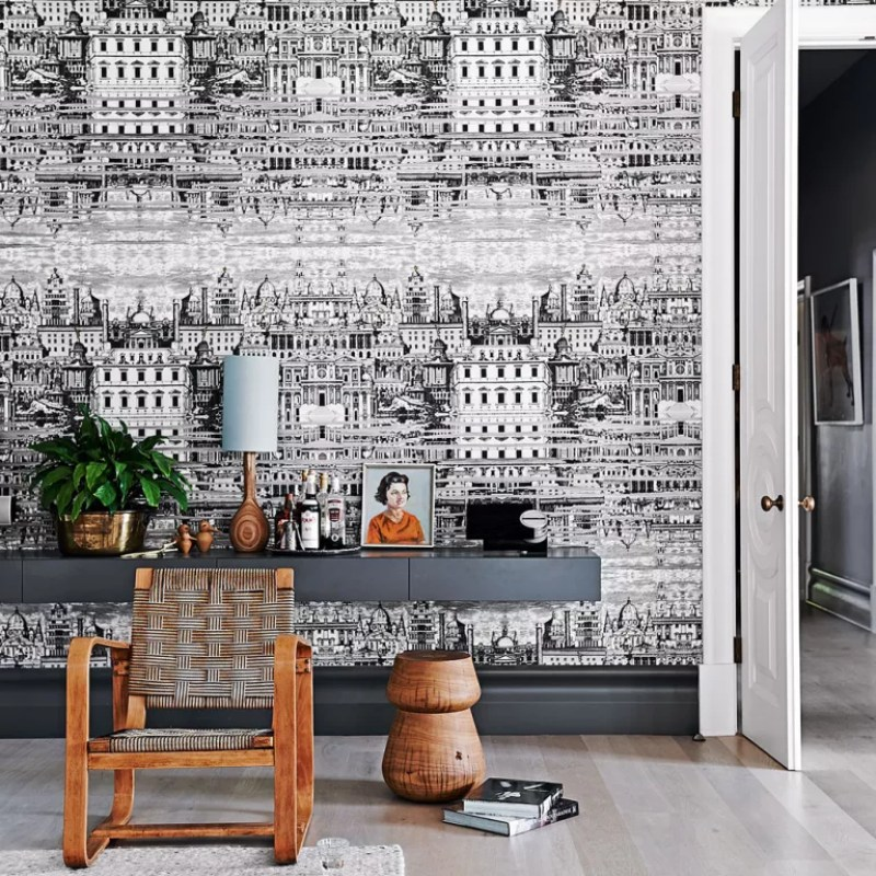 monochrome cityscape wall paper in Living room