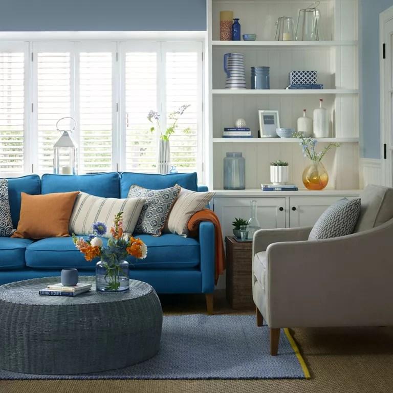 Living Room Design With Blue Sofa Novocom Top