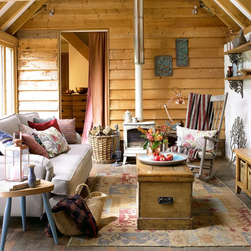 barn conversion living room with timber cladding