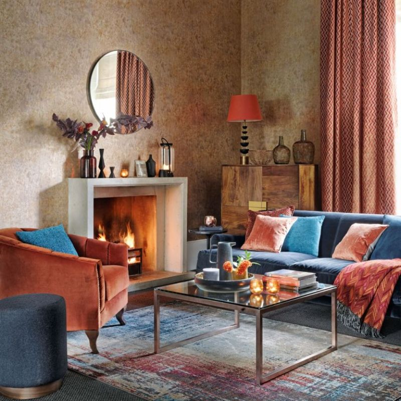 bronze living room with jewel coloured furniture