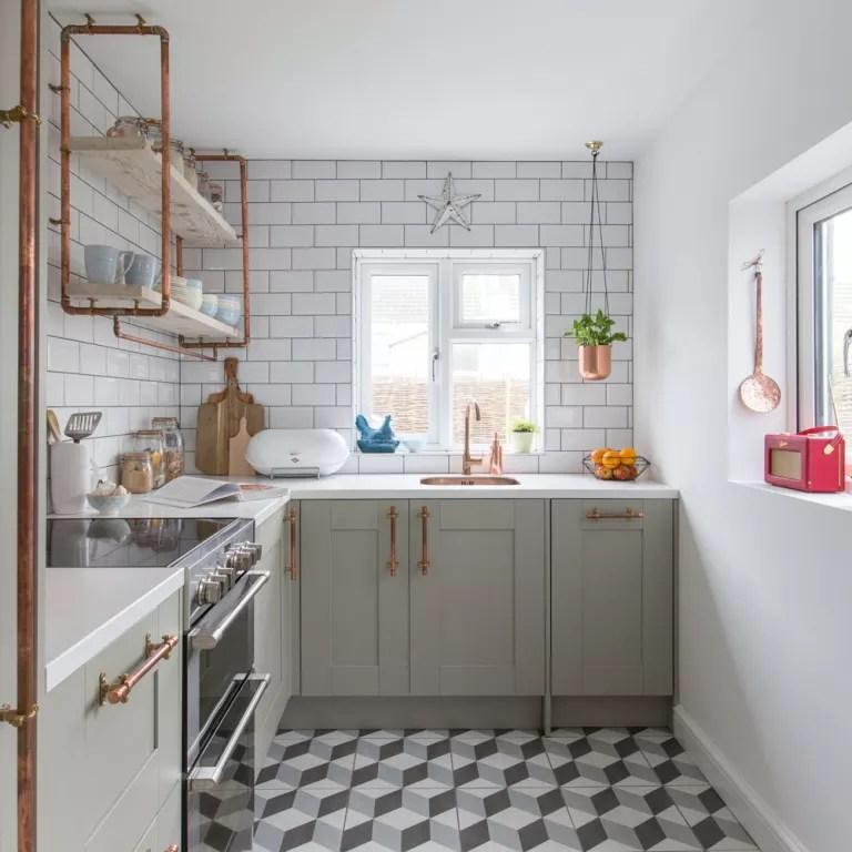 small kitchen will copper accents
