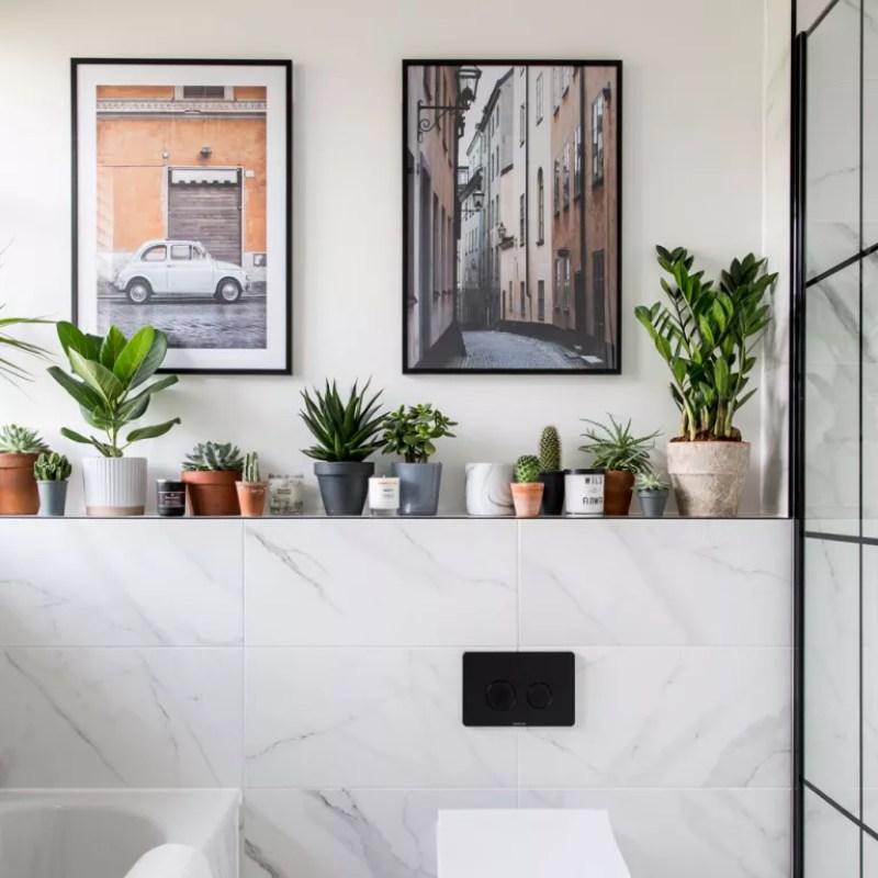 white marble tiled bathroom