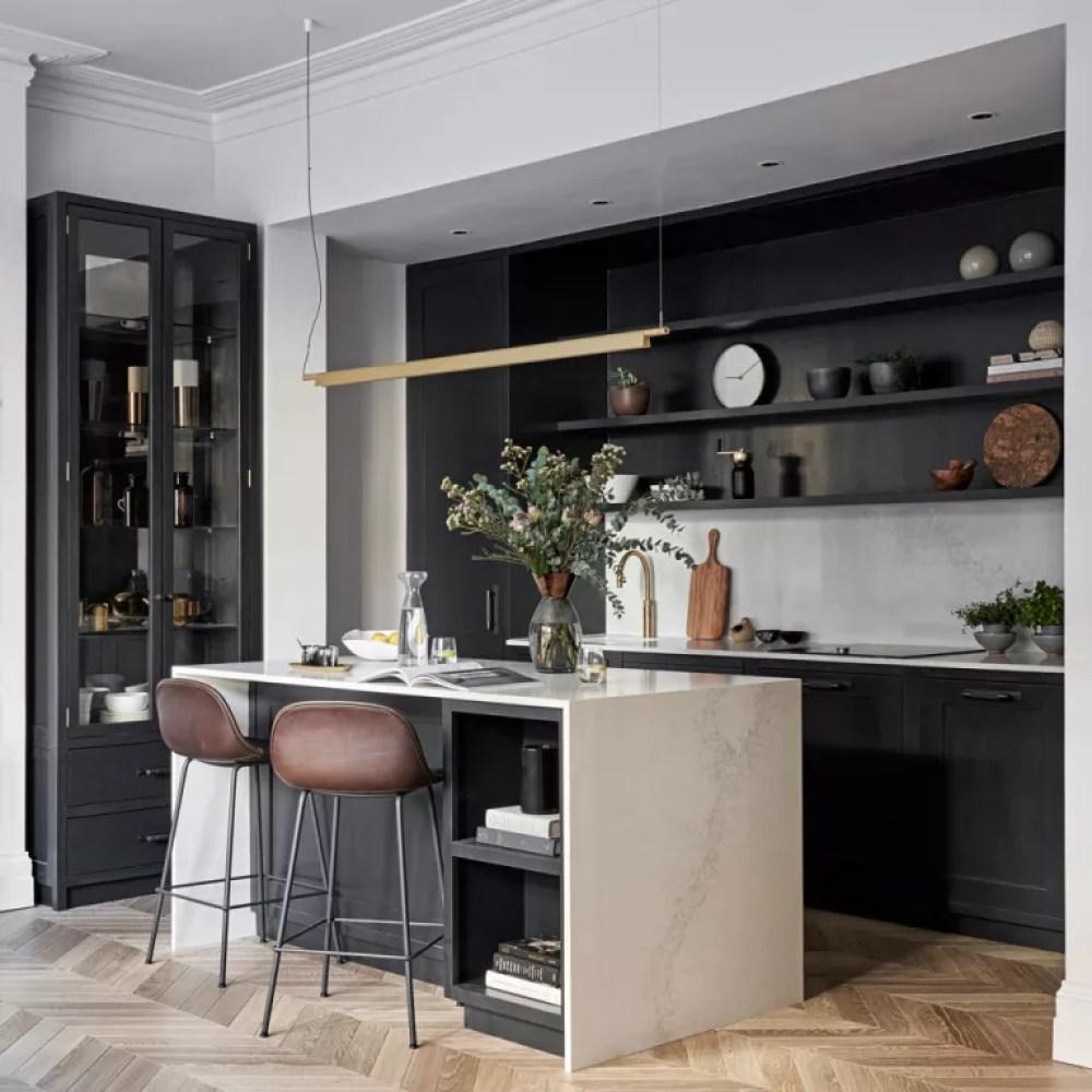 Black kitchen ideas with grey walls