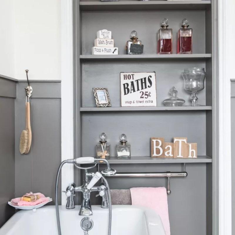 alcove design idea white bathroom with grey painted shelves