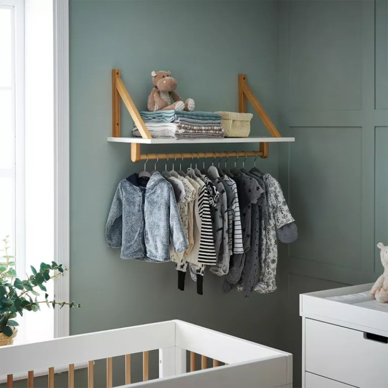 baby clothes storage with clothes rail and shelf