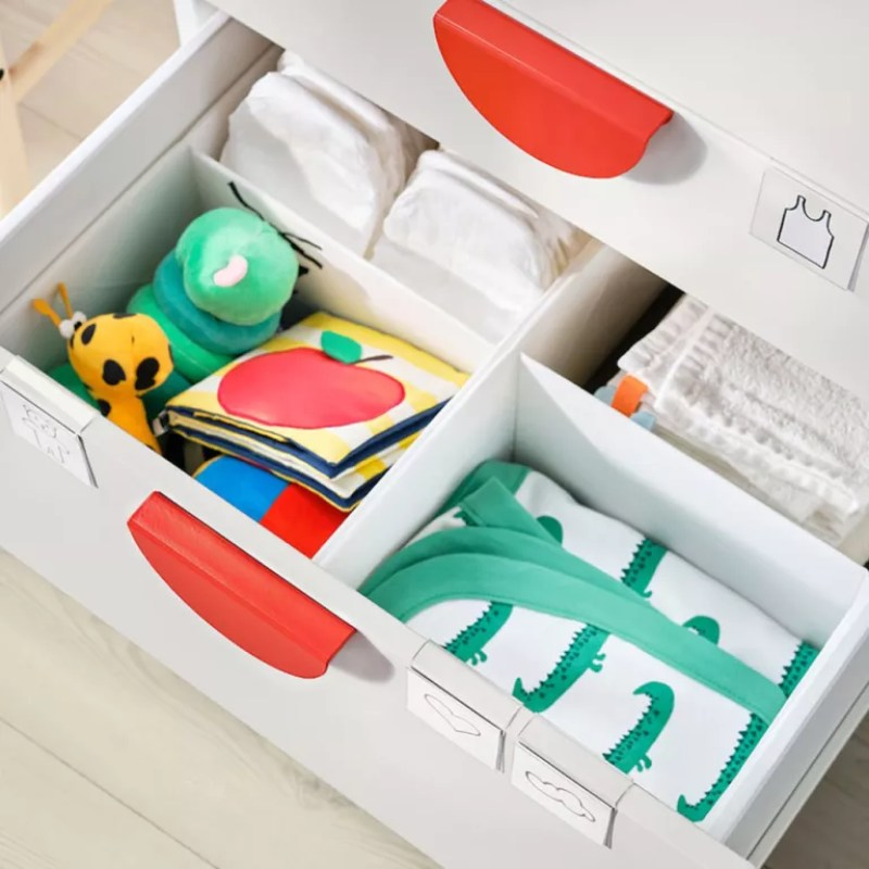 baby clothes storage with drawer compartments