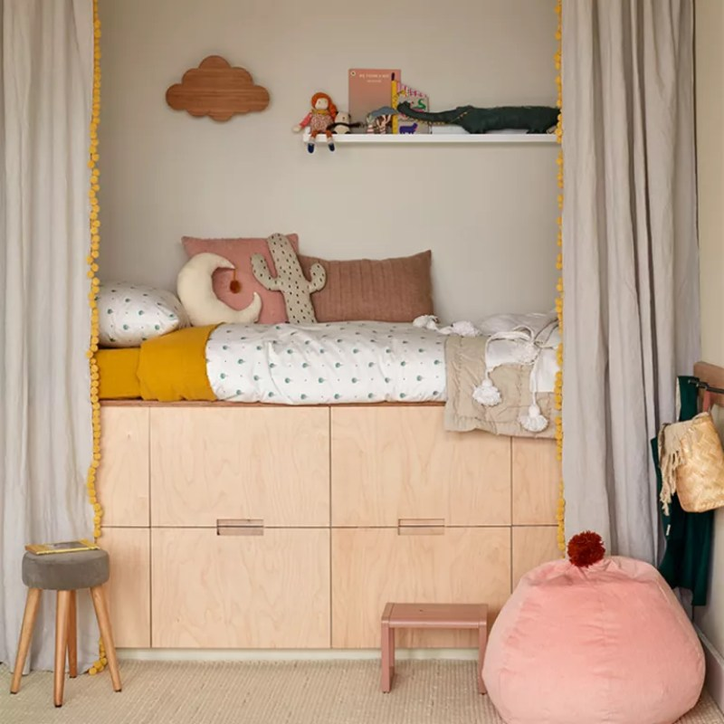 baby clothes storage with high sleeper bed