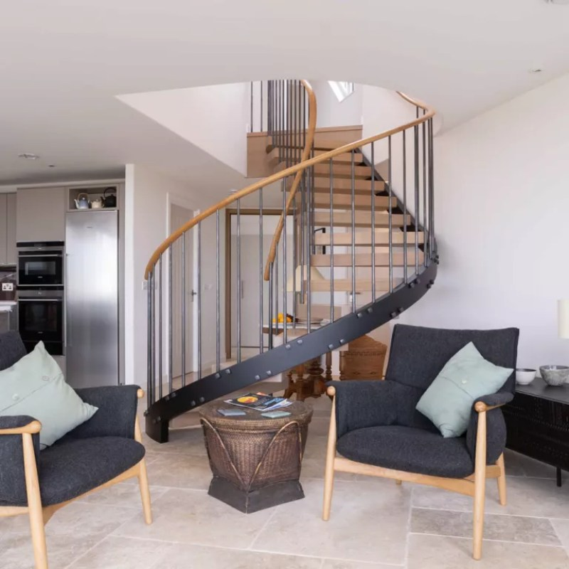 spiral staircase in living room