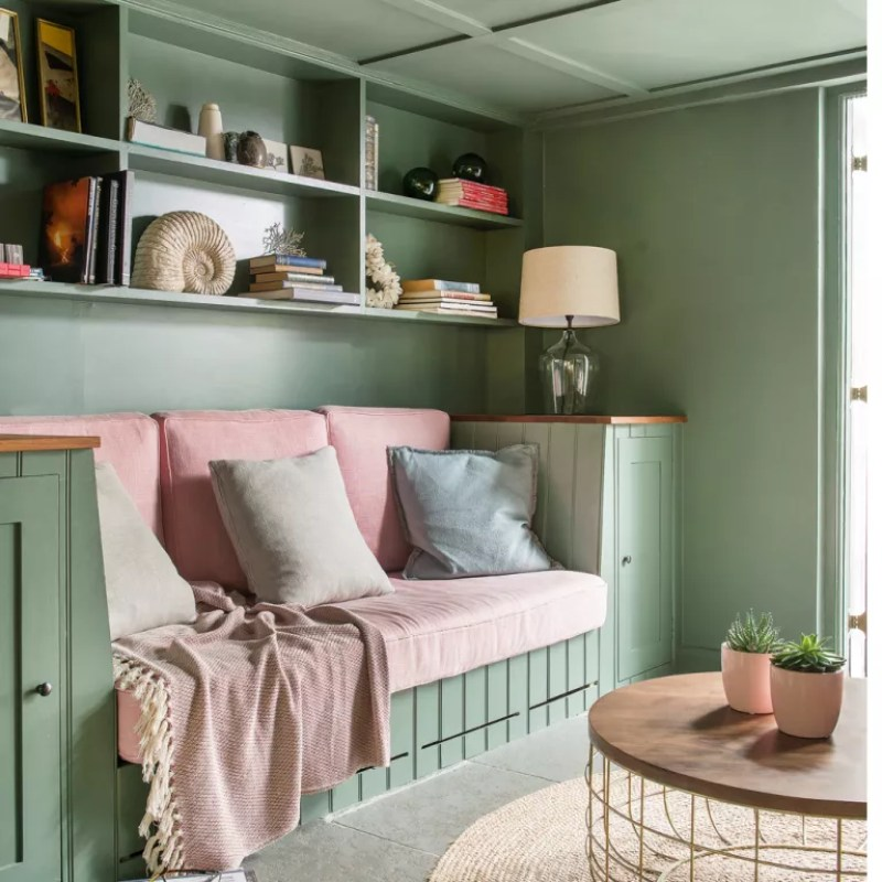 in built sofa and shelving in a country style house - Colin Poole