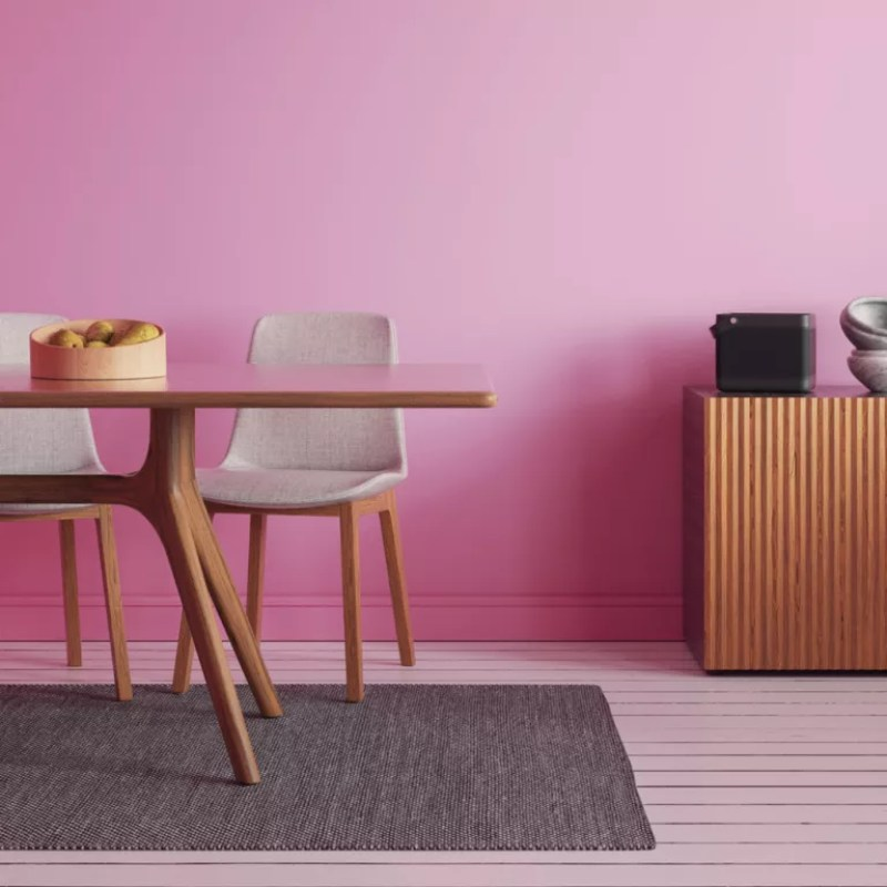 pink dining room by lick paint