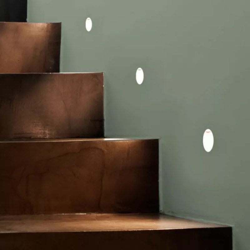 recessed wall lights on walls of staircase - lighting direct