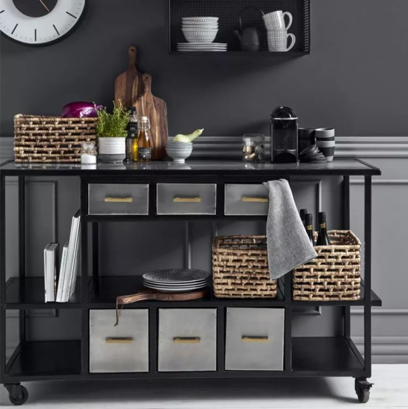 Portable kitchen island ideas with black wall and industrial trolley