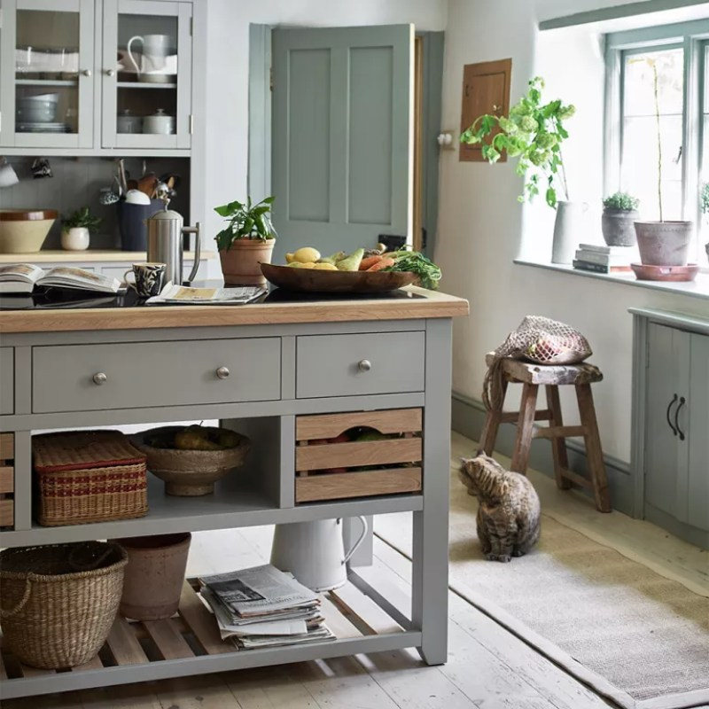 Portable kitchen island ideas with pale grey kitchen and island