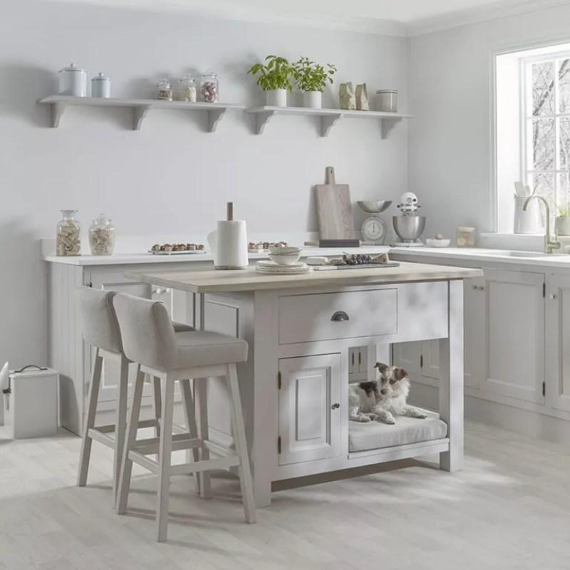 Portable kitchen island ideas with white kitchen and breakfast bar island
