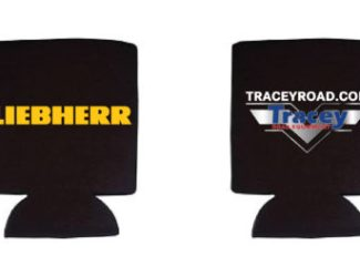 Tracey Road Equipment Liebherr Printed Koozies Branded Promotional Merchandise | KSAVAGER Design & Photography | Syracuse, NY
