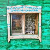 Sibirien Holzhaus Fenster schlicht