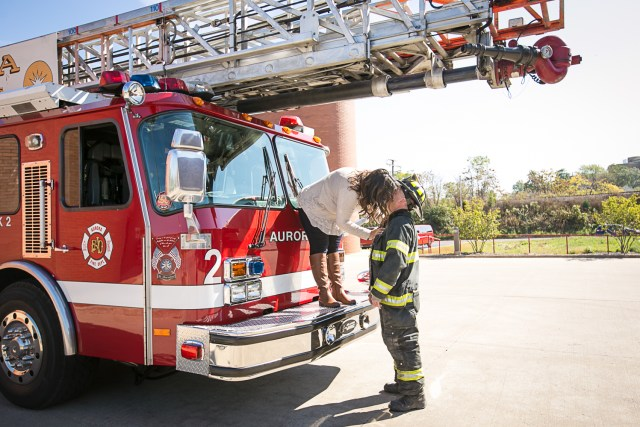 Aurora Illinois Engagement Session featuring firetrucks and fireman
