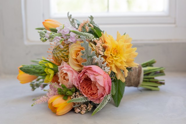 Summer bouquet with organic colorful flowers