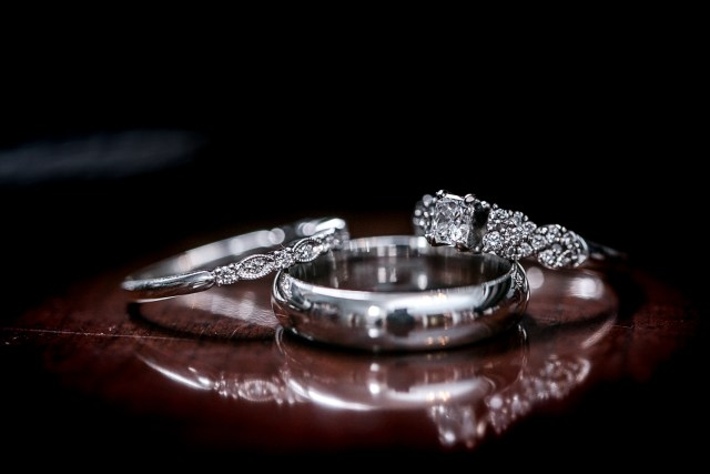 diamond ring in table reflection