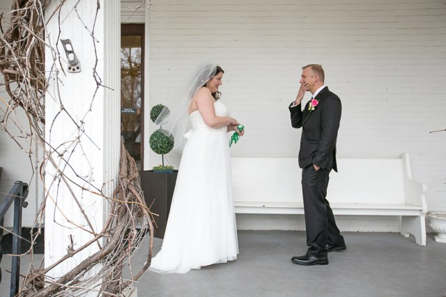 first look reaction Carriage lane Inn wedding
