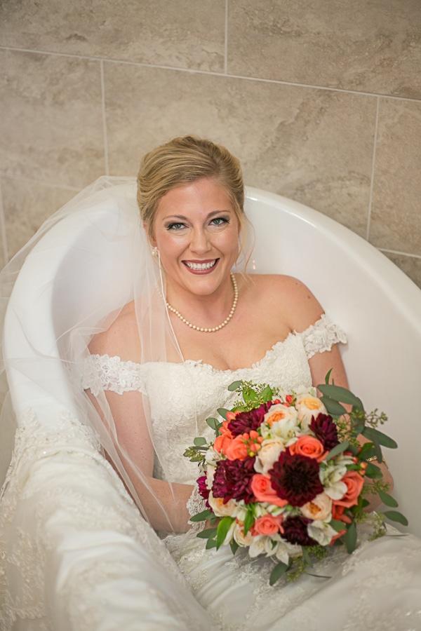 bride in bath tub