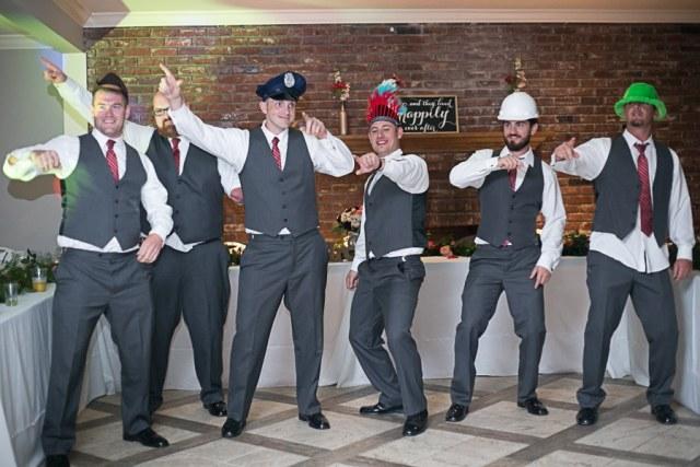 groomsmen dancing like the police