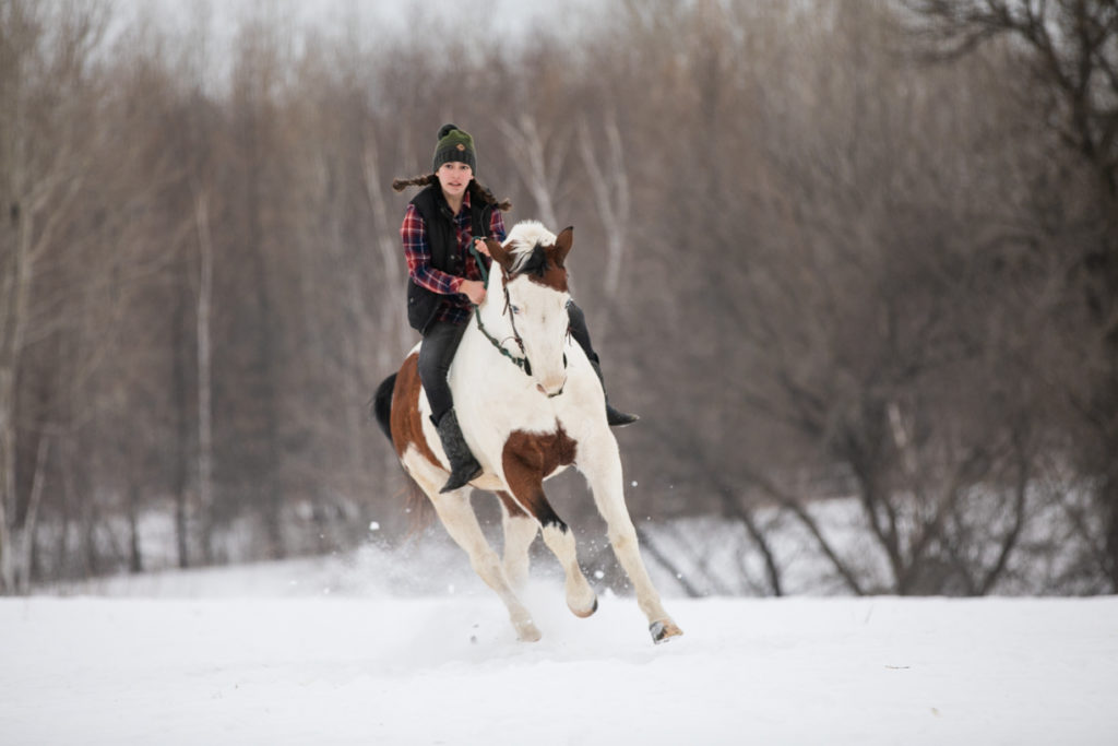 girl riding her horse in the snow
