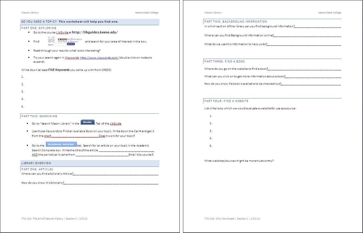 Worksheet Finding And Using Keywords