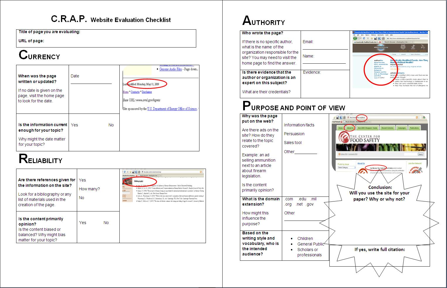 Worksheet C R A P Website Evaluation Checklist