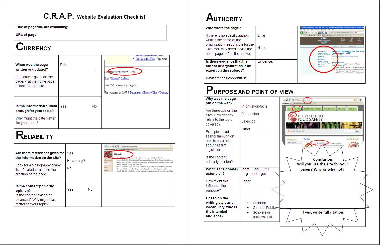 Worksheet C R A P Website Evaluation Checklist