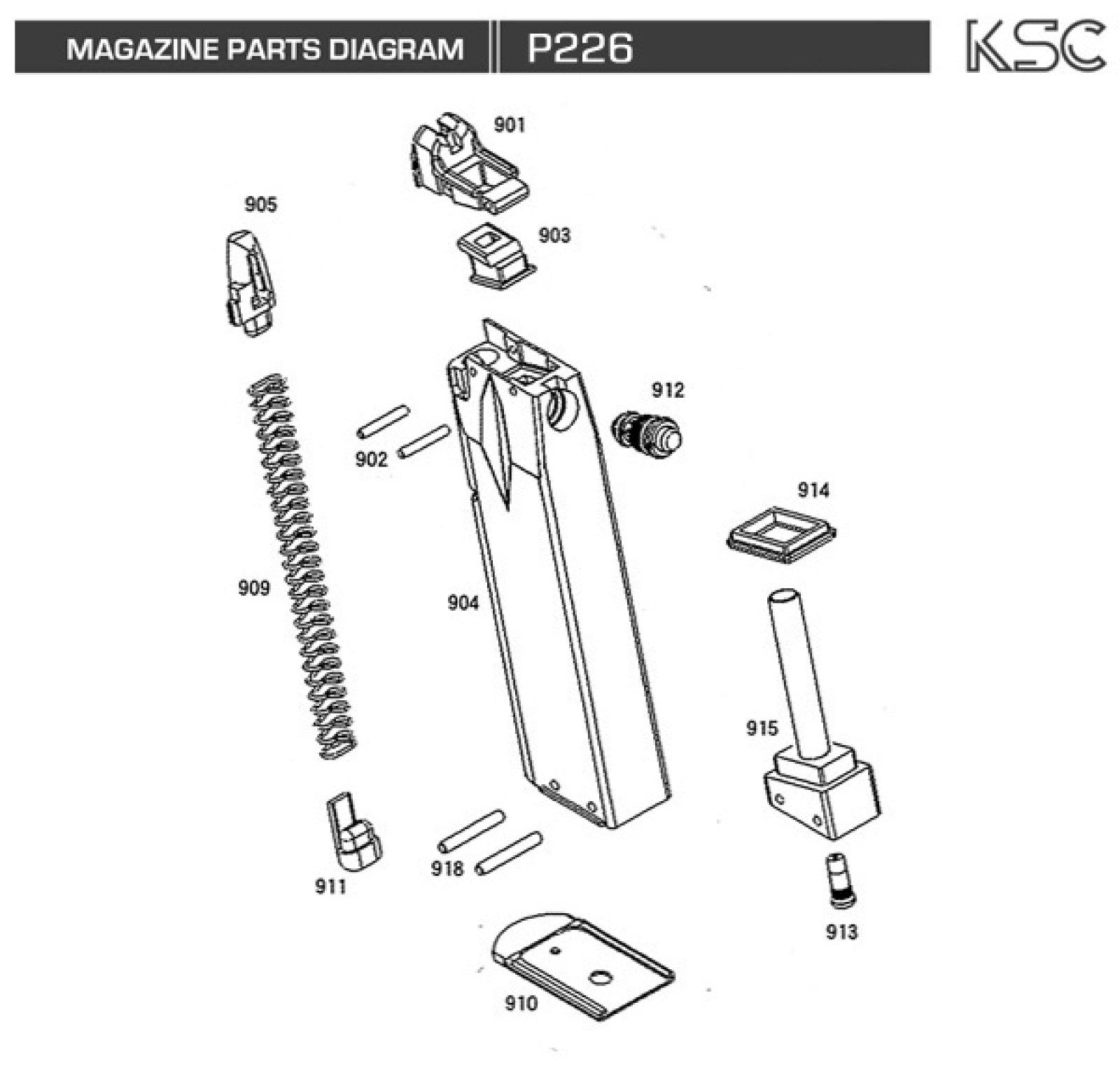Exploded Diagram Ksc P226 Ksc Part Original Worldwide