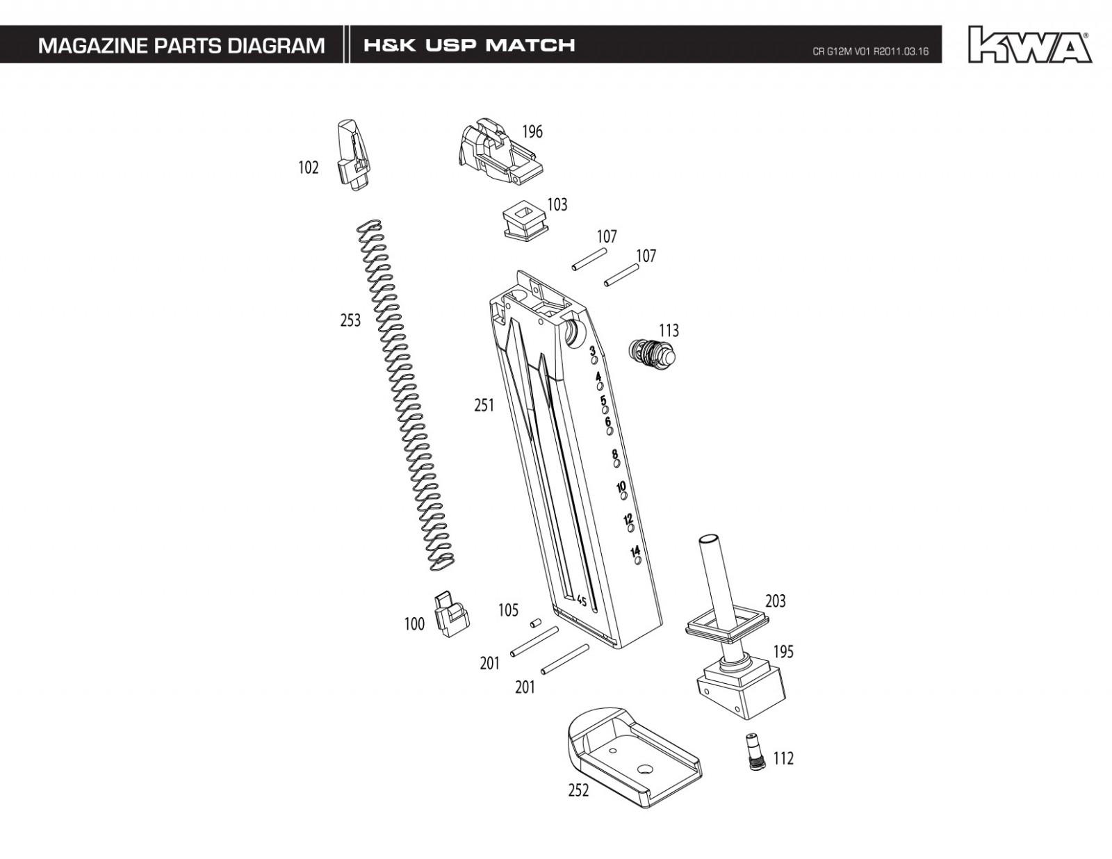 KWA/Umarex USP Match Exploded Diagram