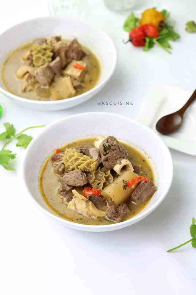 Assorted meat peppersoup made with goat meat. A comforting Nigerian pepper soup