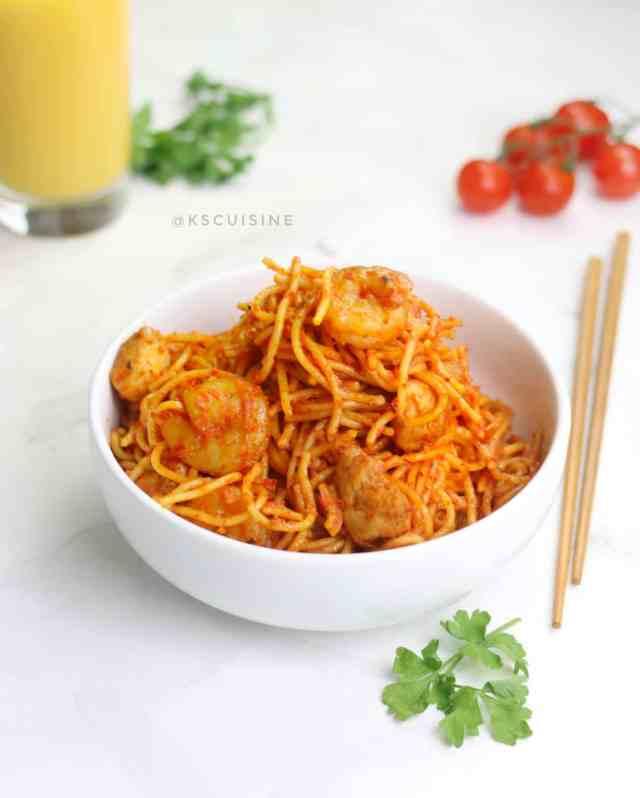 Best Jollof spaghetti recipe.